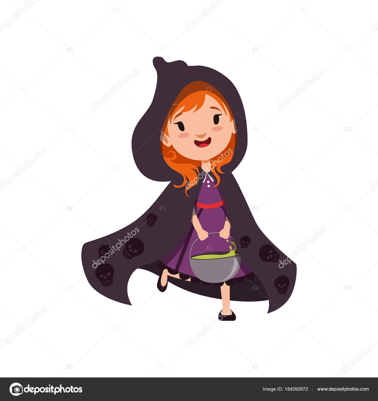 Cartoon Characters With Purple Hair : Cartoon character with red hair and purple dress