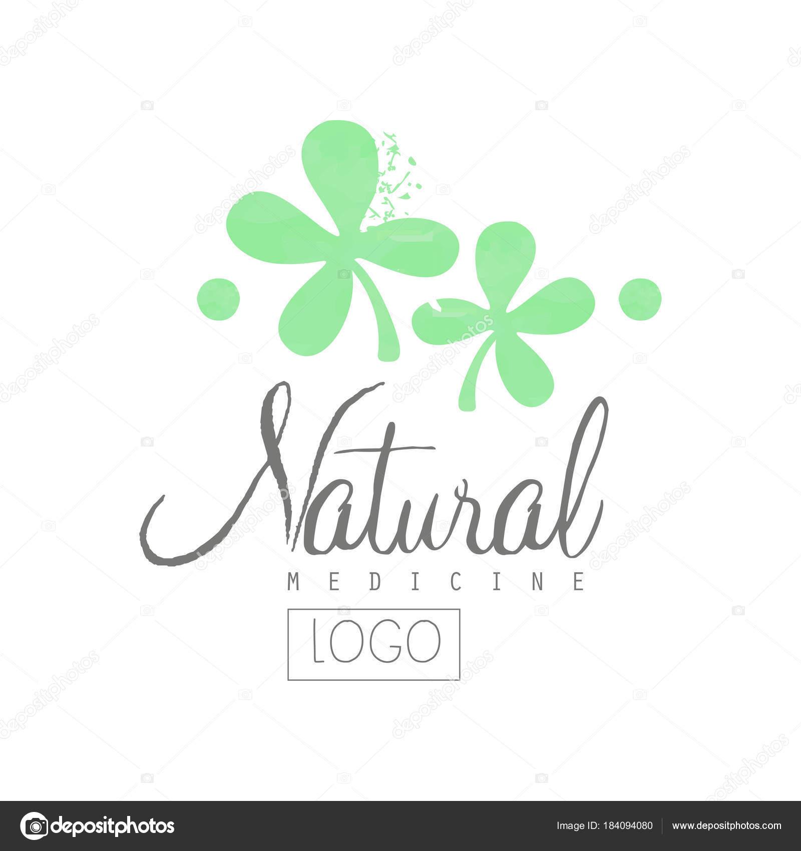 Escudo dibujado mano con hojas de color verde y letras. Medicina ...
