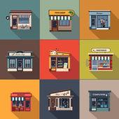 Restaurace a obchody fasáda, výkladní skříň podrobné plochou