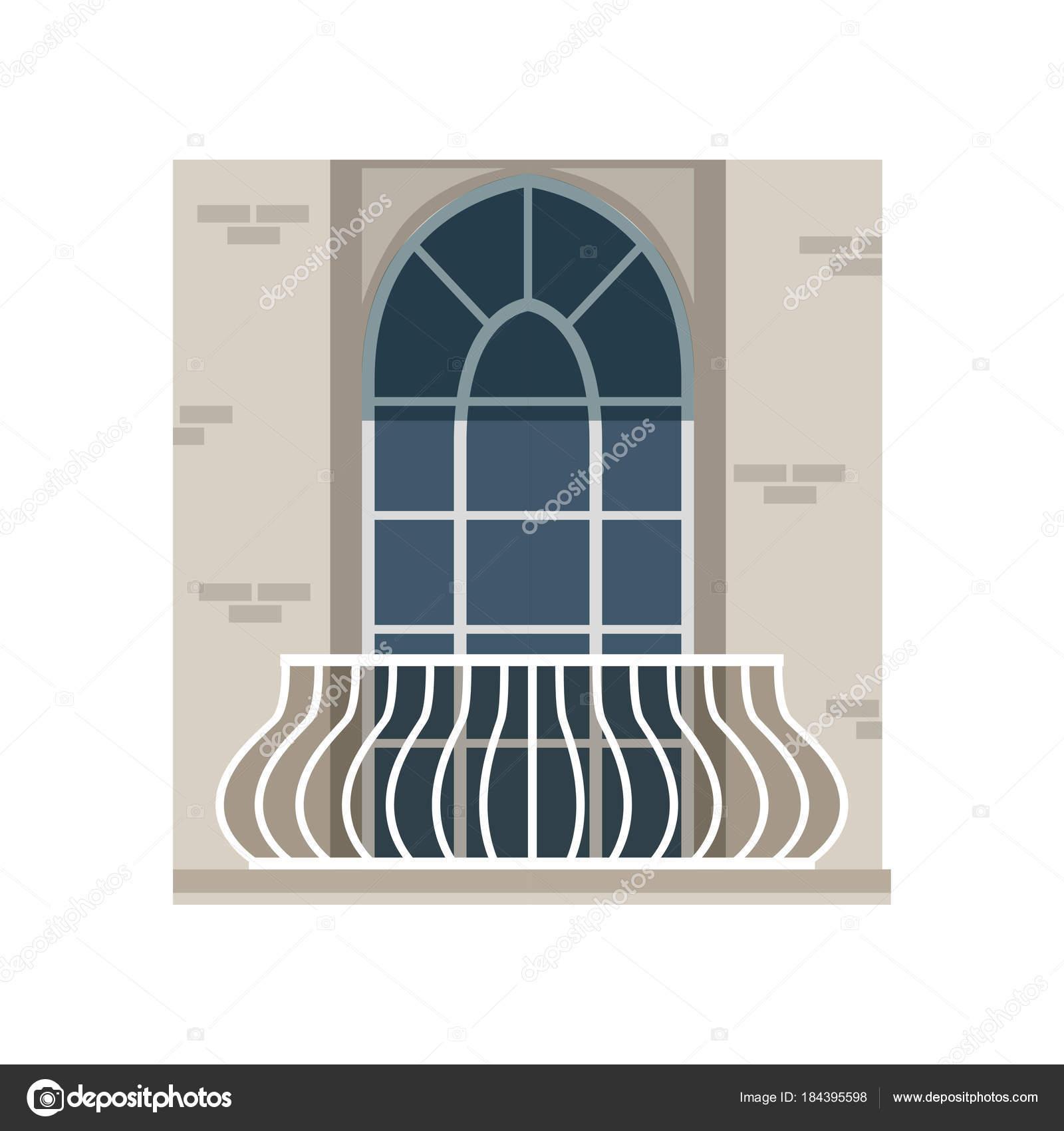 Balcón con barandilla de hierro forjado y arcos de la ventana vector ...