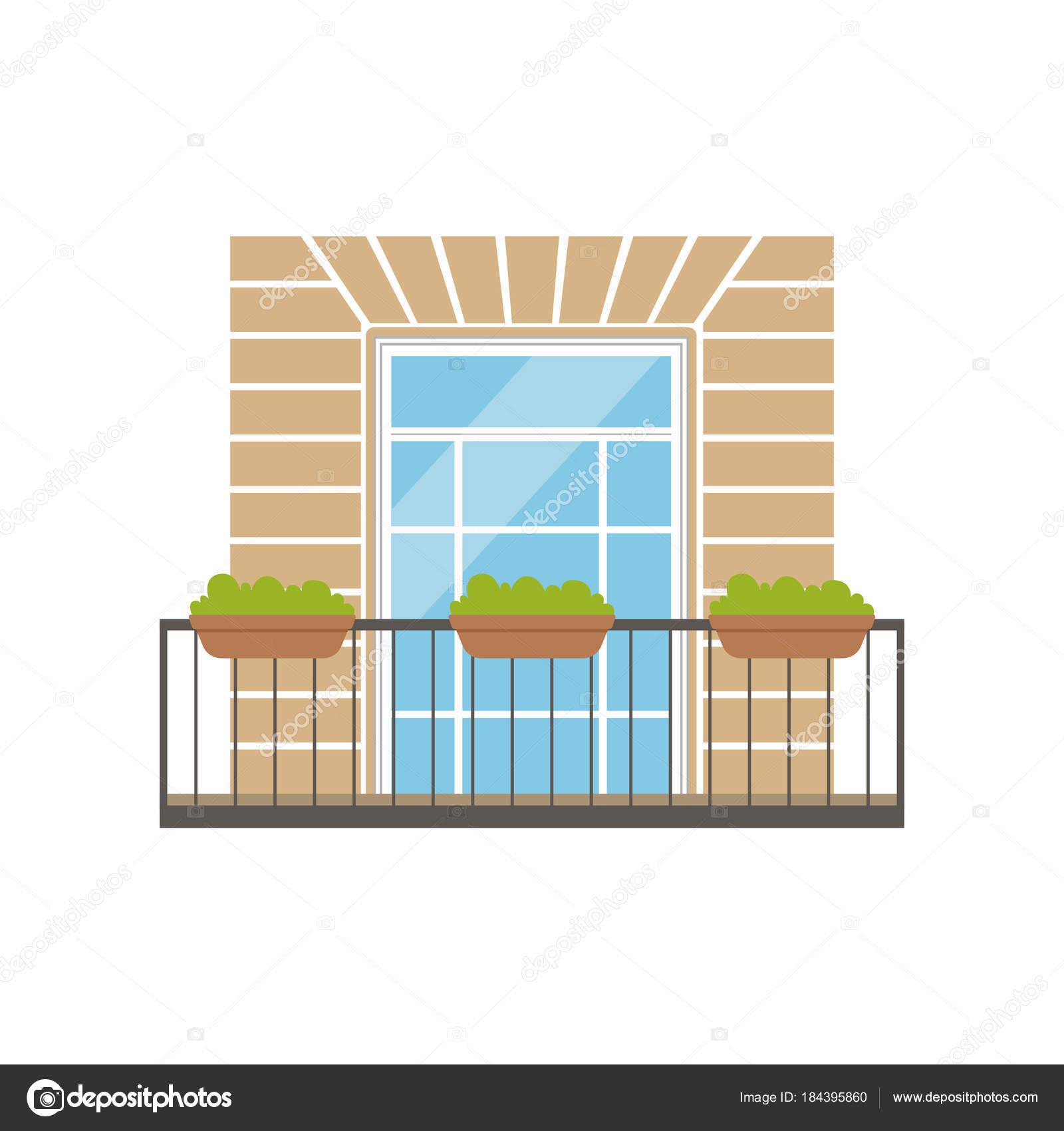 Balcón con barandilla de hierro forjado y plantas en macetas, vector ...