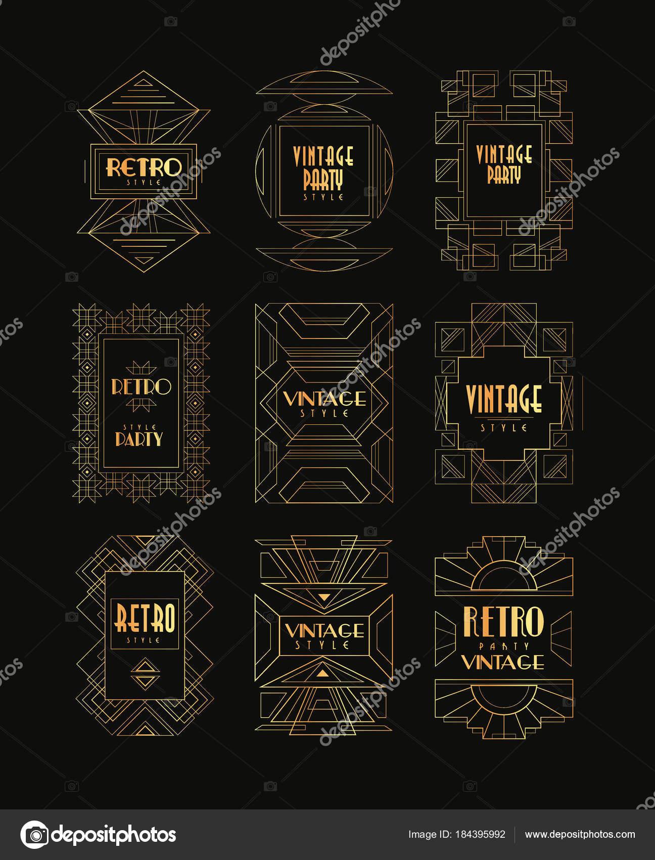 Marcos dorados decorativos de estilo vintage. Art Deco. Creativas ...
