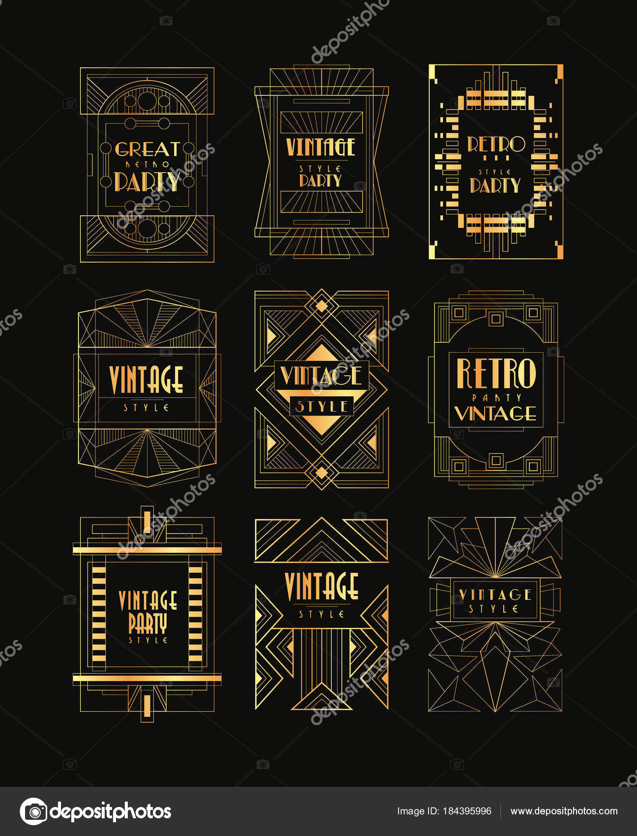 Vintage Collection Of Golden Art Deco Frames Luxury Vector