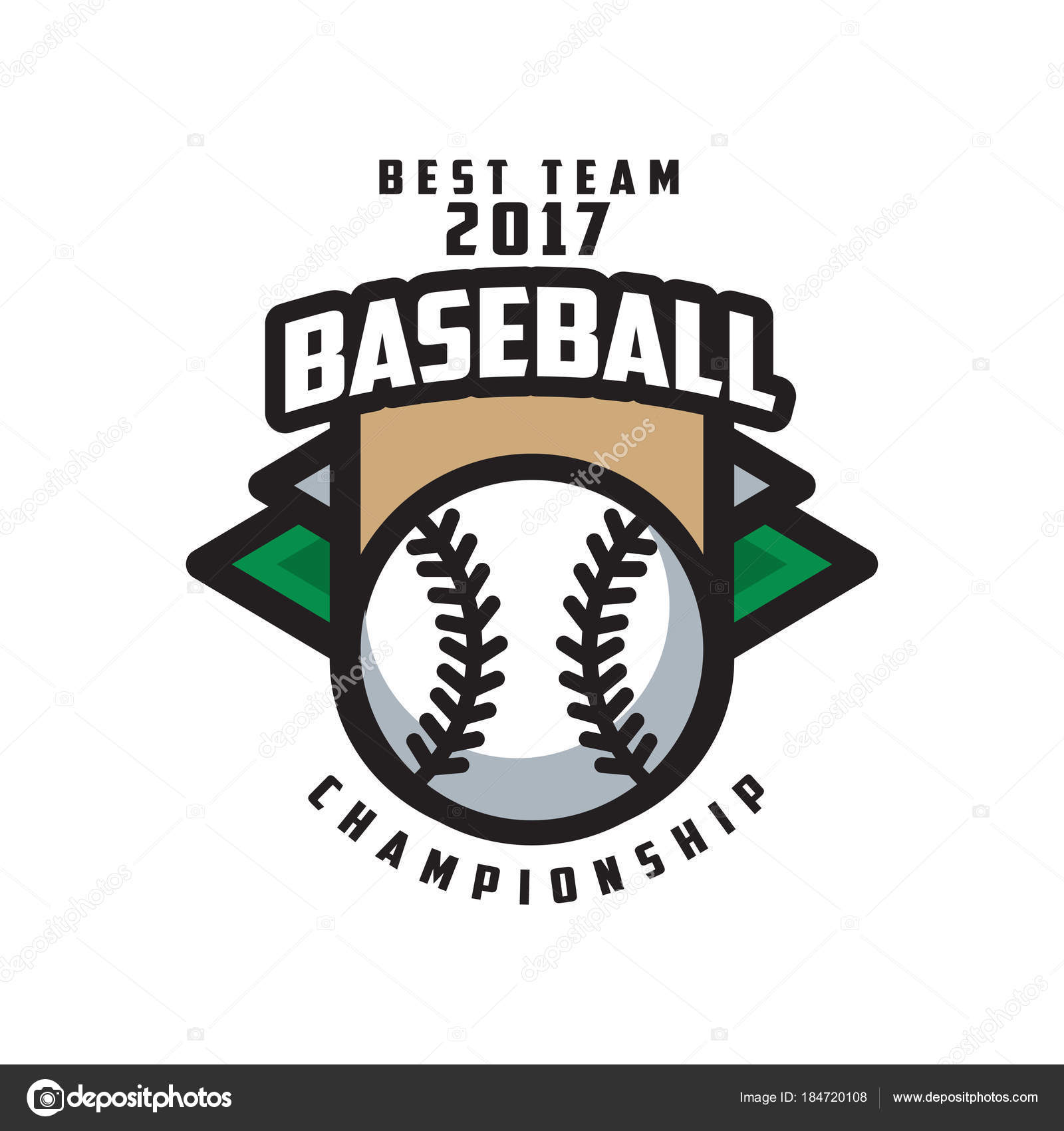 Baseball Championship Best Team 2017 Logo Template Design Element For Badge Banner Emblem Label Insignia Vector Illustration Isolated On A White