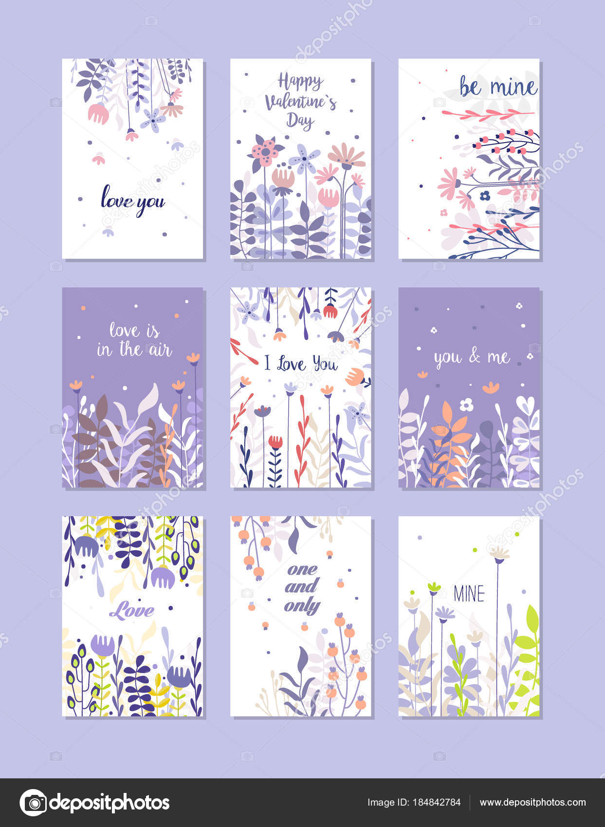 Greeting Cards Set Trendy Cards For Valentines Day Birthday