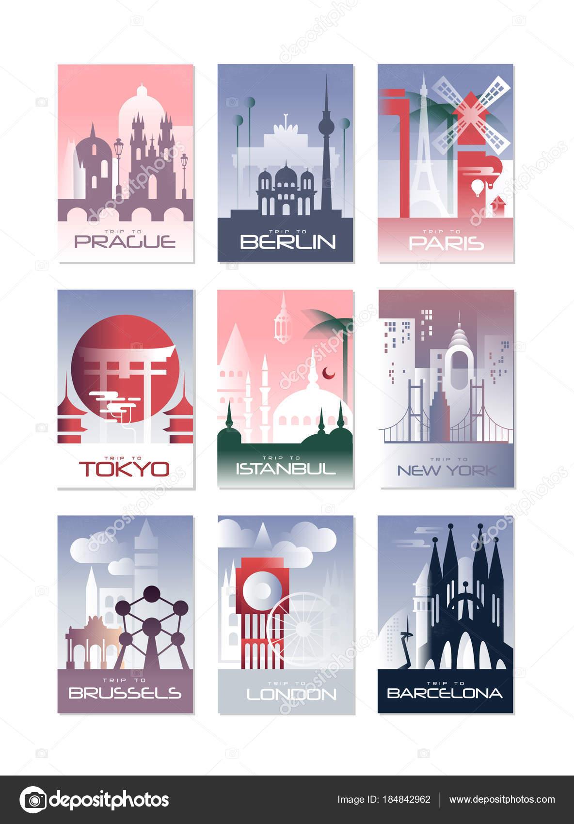 Set de tarjetas ciudad, paisaje plantilla de flyer, poster, cubierta ...