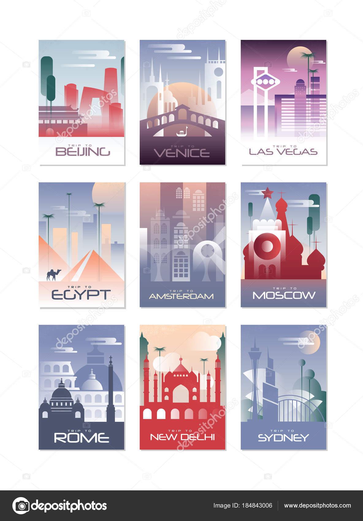 Stadt-Karten-Set, Landschaft Vorlage für Poster, Flyer, Banner ...