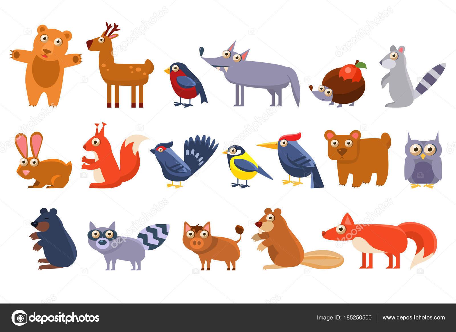 野生の森林動物セット、かわいい漫画熊、鳥、ハリネズミ、オオカミ