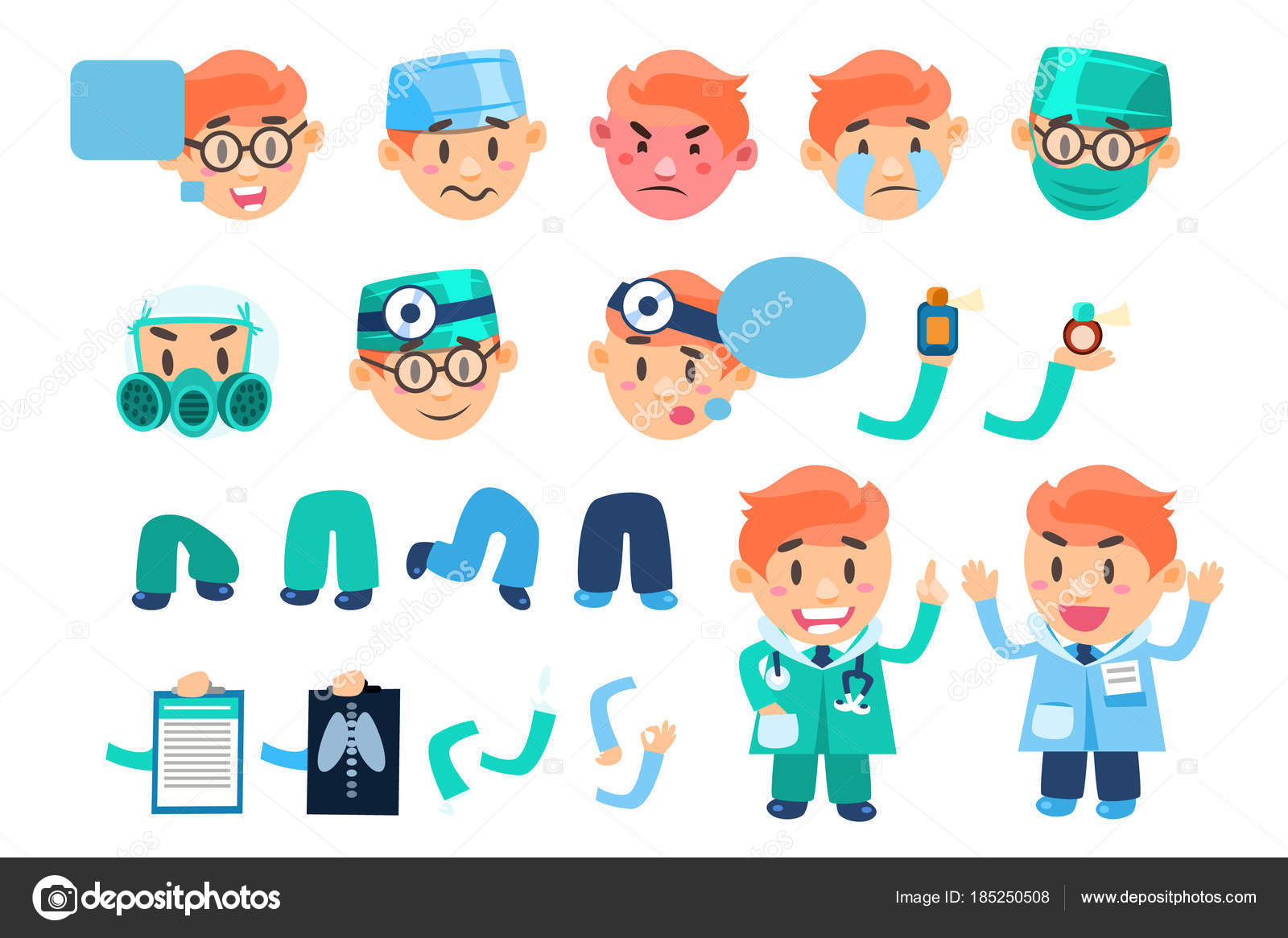 Männlichen Arzt animiert, Zeichensatz, verschiedenen Gesicht ...