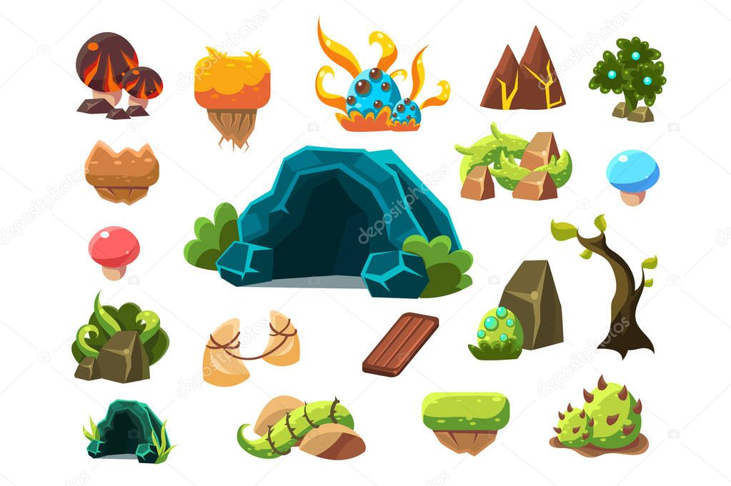 Fabulous cave, trees, plants, mushrooms, design elements fo fantasy landscape, world of trolls vector Illustrations on a white background