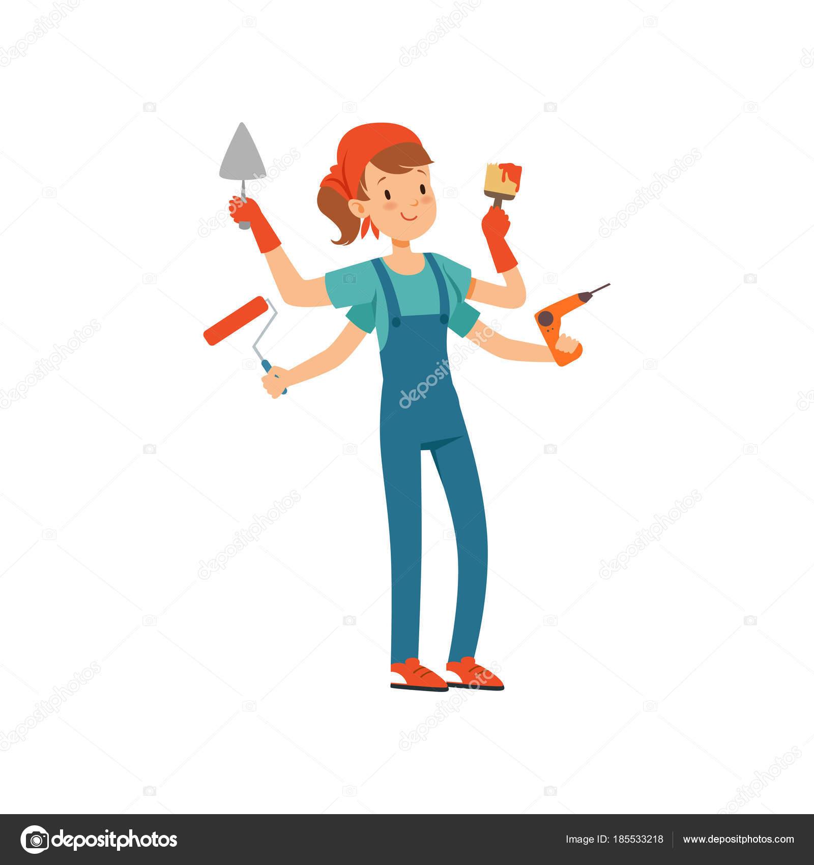 Car Cter De Pintor Mujer Multitarea Dise Ador De Trabajo De  ~ Herramientas Pintor Profesional