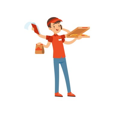 Multitasking pizza delivery boy character, boy in red uniform with many hands boxes of pizza and talking by phone vector Illustration on a white background