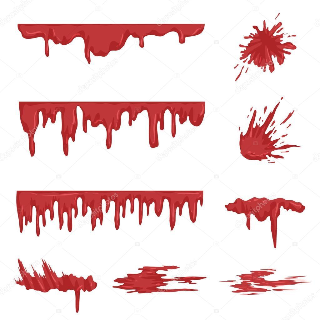 白地に血や汚れのベクター イラストを滴る血はねセット — ストックイラストレーション