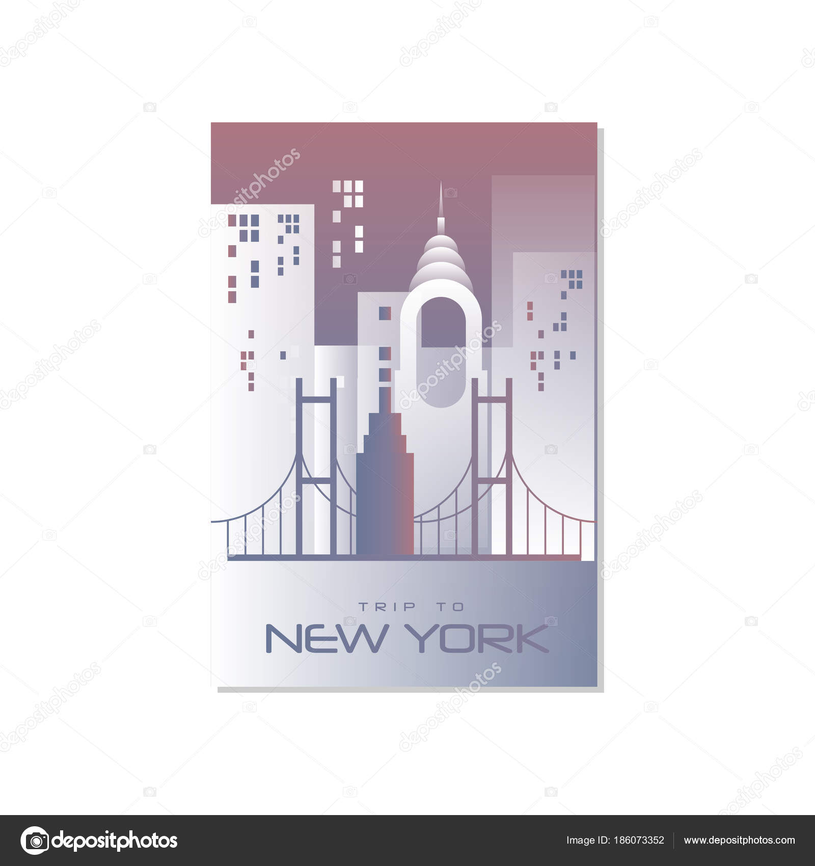 Trip To New York Travel Poster Template Touristic Greeting Card