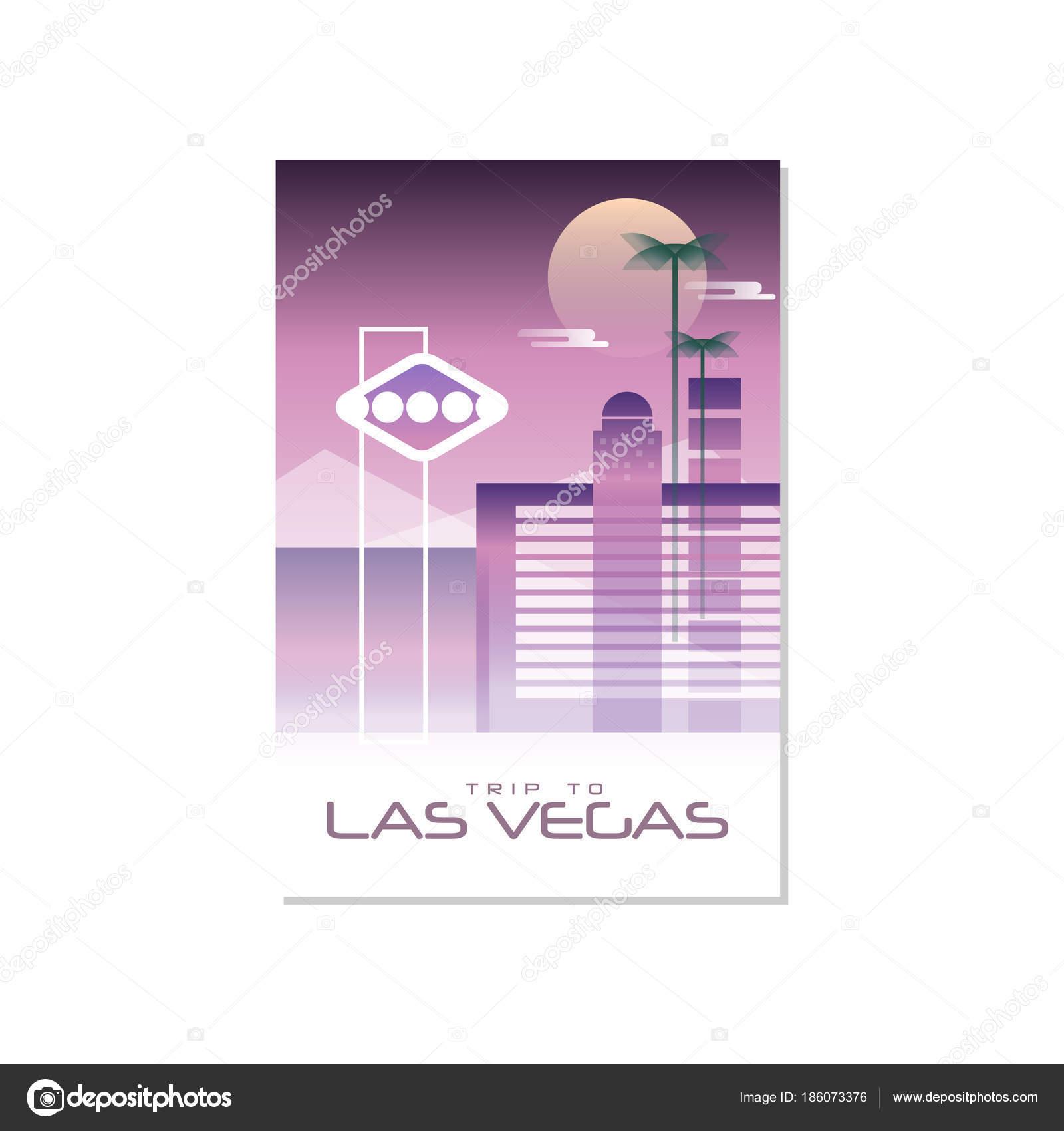 Reise nach Las Vegas, Reise-Plakat-Vorlage, touristische Grußkarte ...