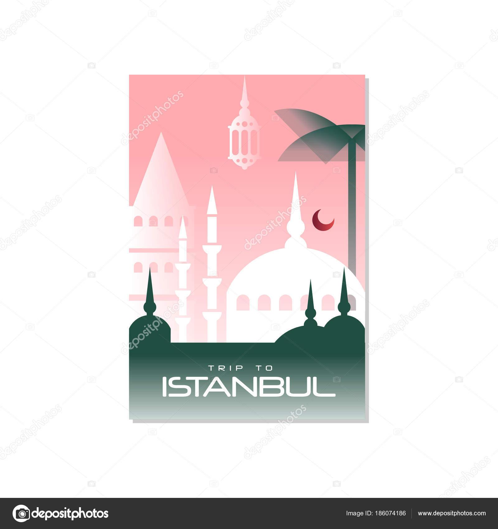 Reise nach Istanbul, Reise-Plakat-Vorlage, touristische Grußkarte ...