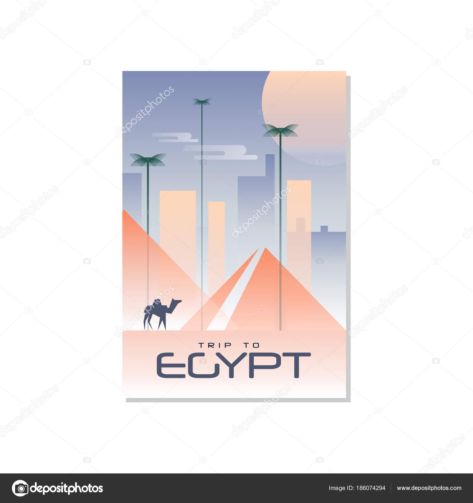 Reise nach Ägypten, Reise-Plakat-Vorlage, touristische Grußkarte ...