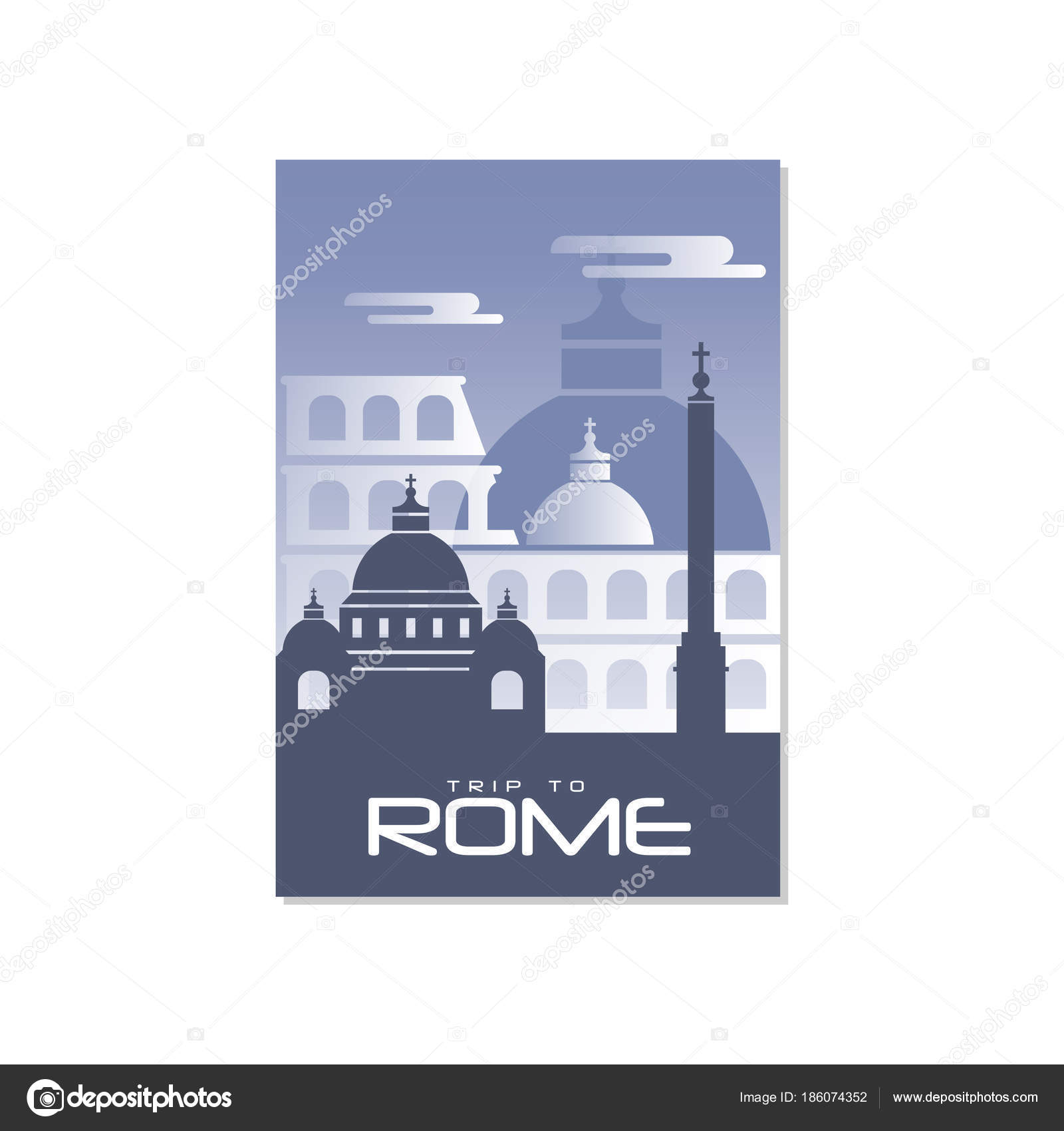 Поездка в Рим, плакат шаблон путешествий, туристическая открытка ... 42c9bbeca53