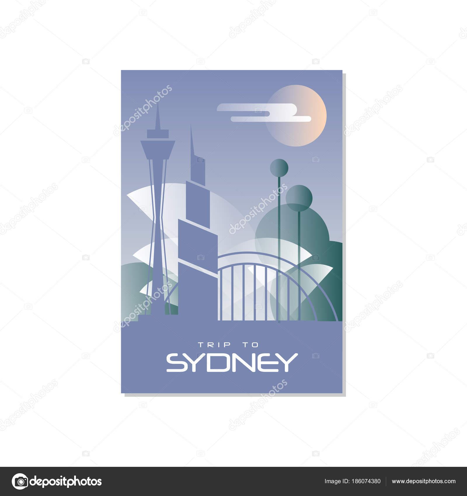 Reise nach Sydney, Reise-Plakat-Vorlage, touristische Grußkarte ...