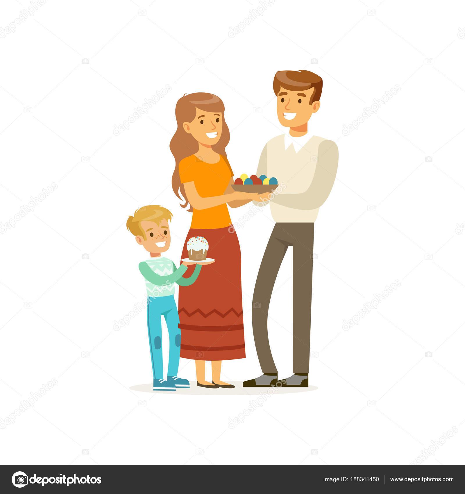 Famiglia cristiana felice della madre padre e figlio - Christian cartoni animati immagini ...