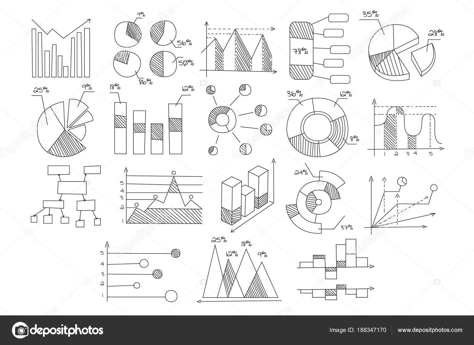 Set of various diagrams, graphs of growth and development with ... on