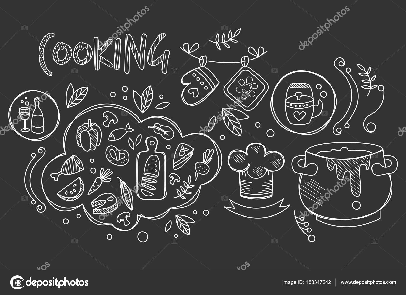 Mano dibujado vector diseño de la cocina los ingredientes y ...