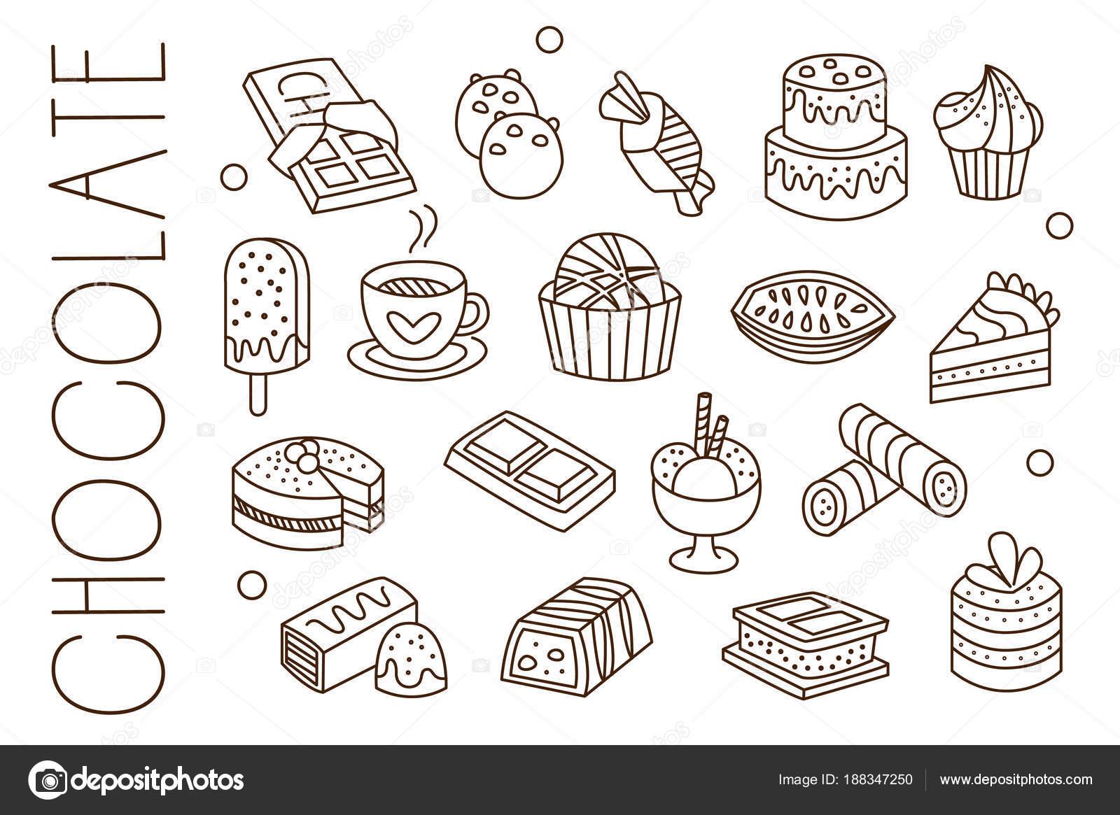 Set Mit Schokolade Sussigkeiten Eis Heissen Kakao Kuchen Und