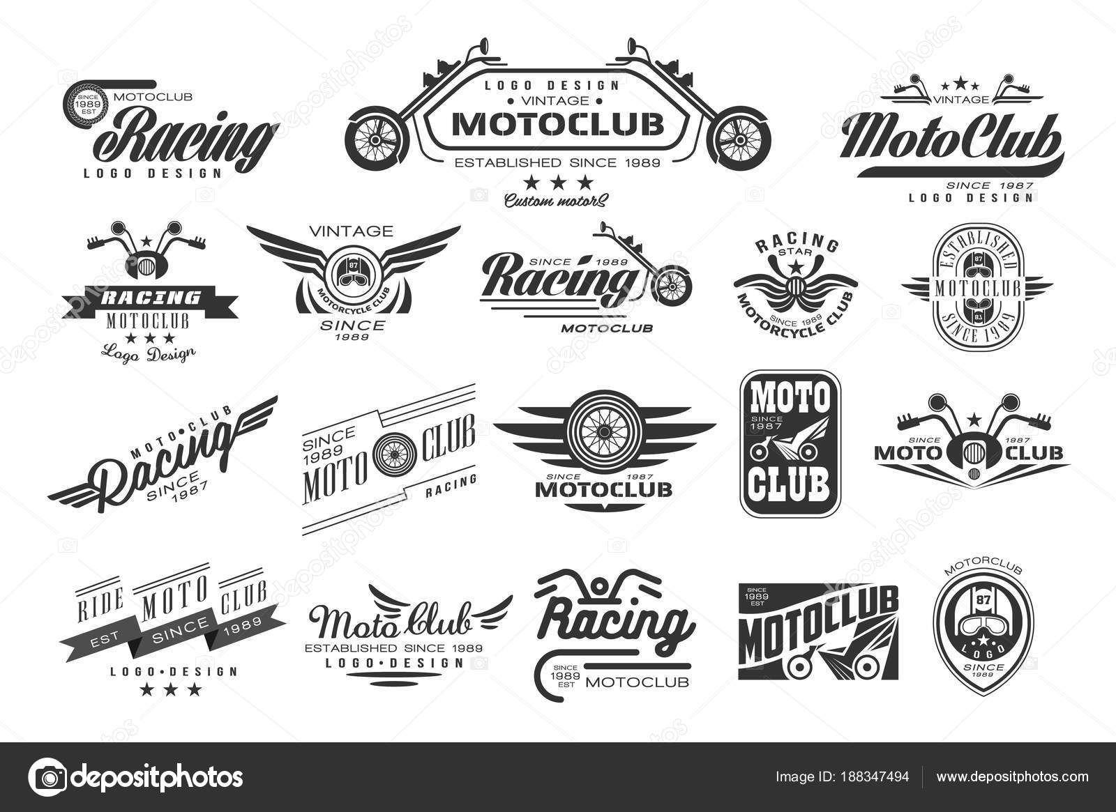 f7ae33f2dc0 Vintage logo design. Monochrome labels for motor club. Typography elements  for badge