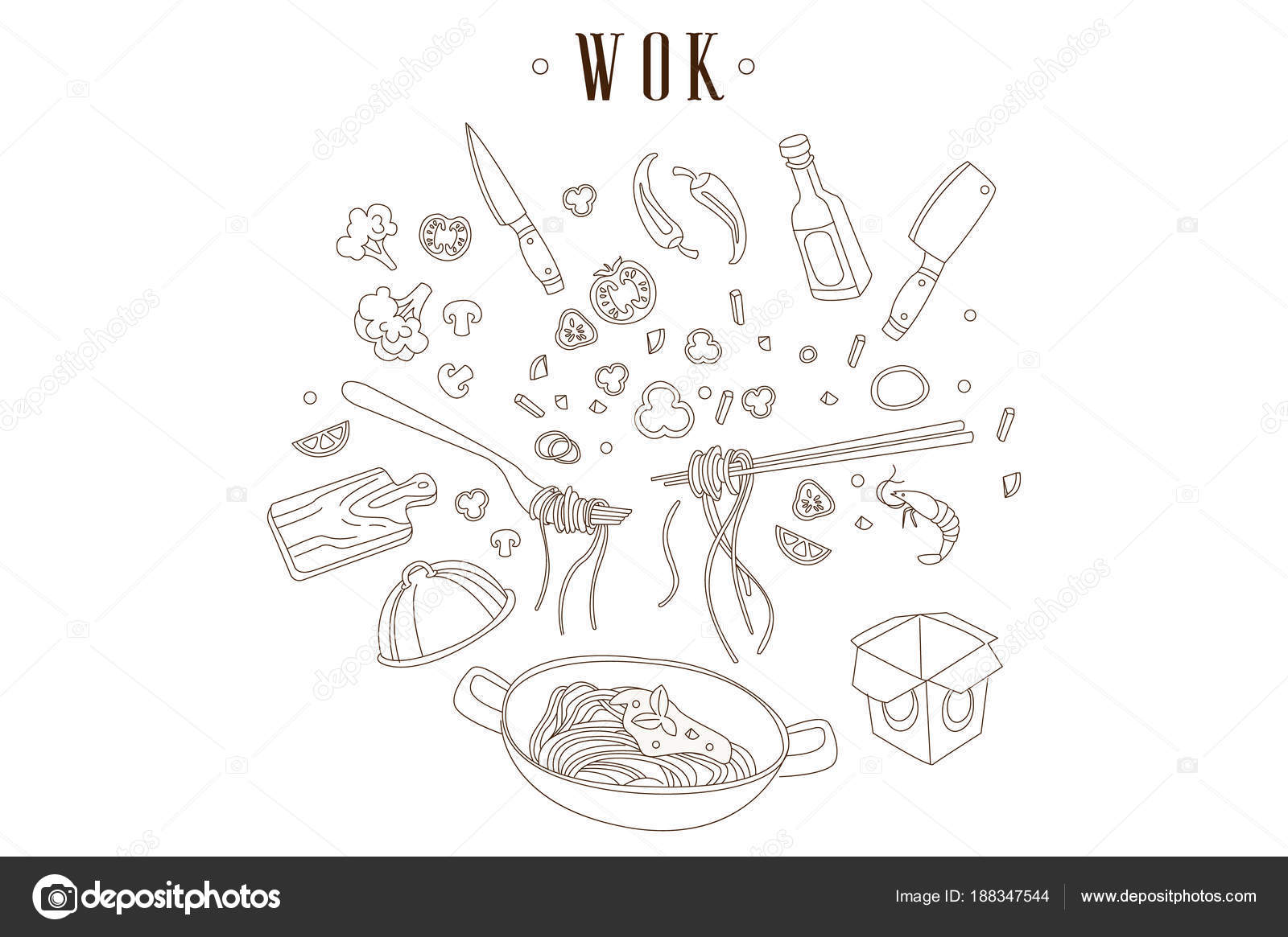 Asiatische Küchenutensilien handgezeichnete vektor illustration der pfanne mit nudeln
