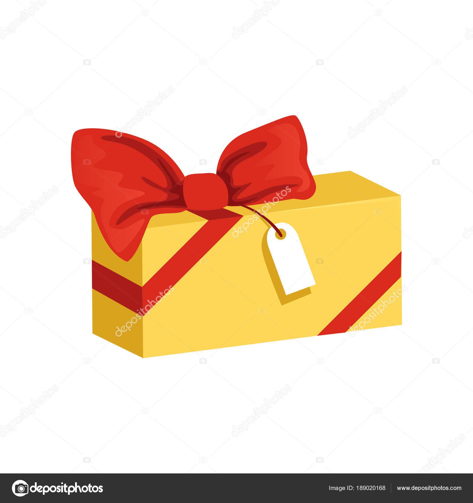 Icono de dibujos animados de caja de regalo rectangular amarillo con ...