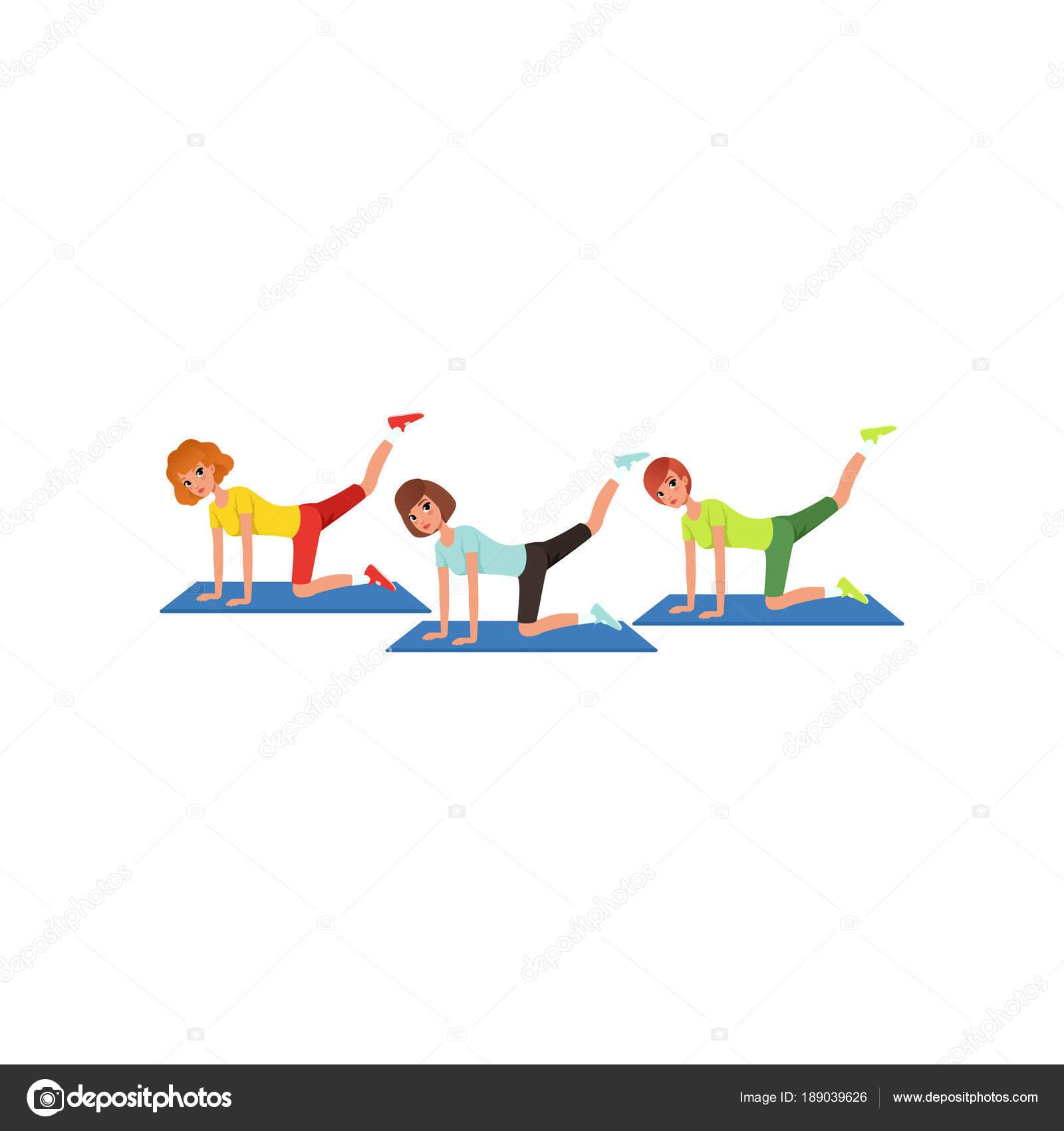 Drei Frauen Bein Schaukeln Training Zu Tun Cartoon Menschen In