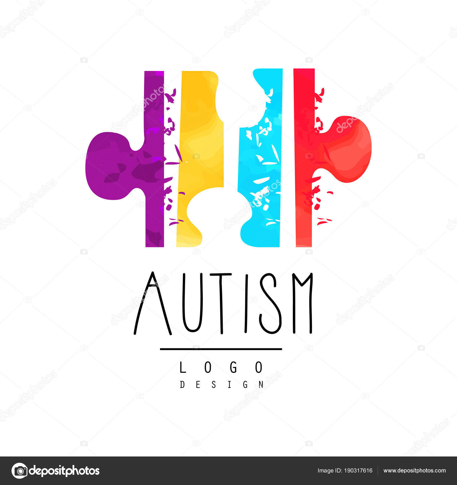 Bright Colored Logo With Symbol Of Autism Vector Emblem With Puzzle