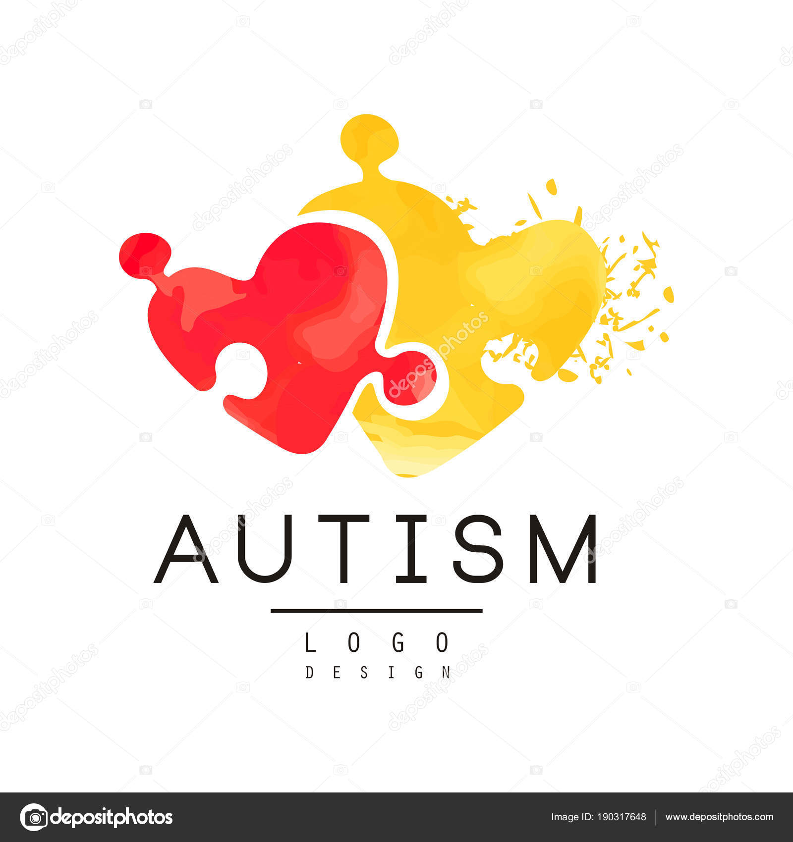 Autism Awareness Concept With Two Pieces Of Puzzle In Shape Of