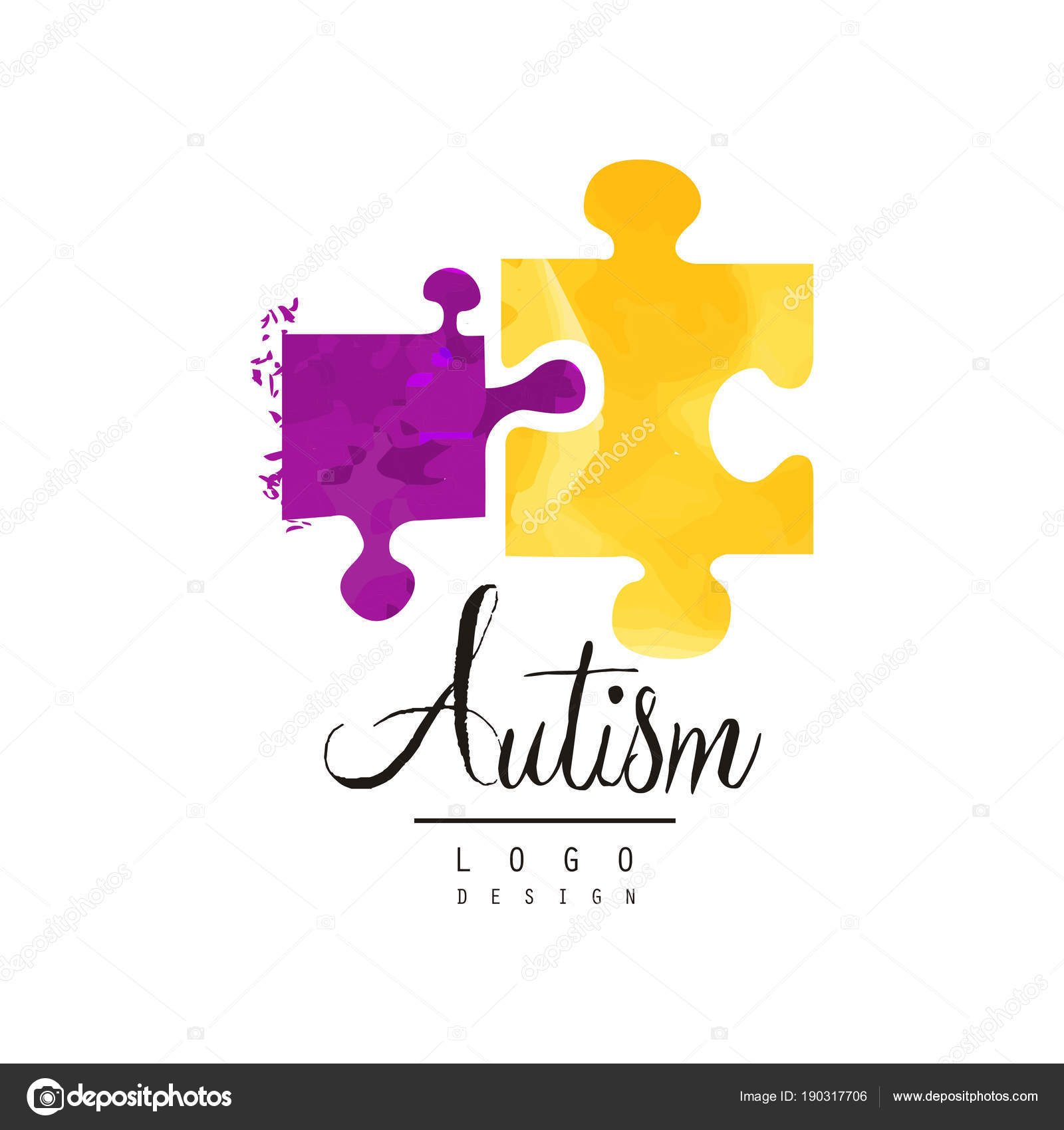Creative Vector Logo For Autism Awareness Day With Two Pieces Of