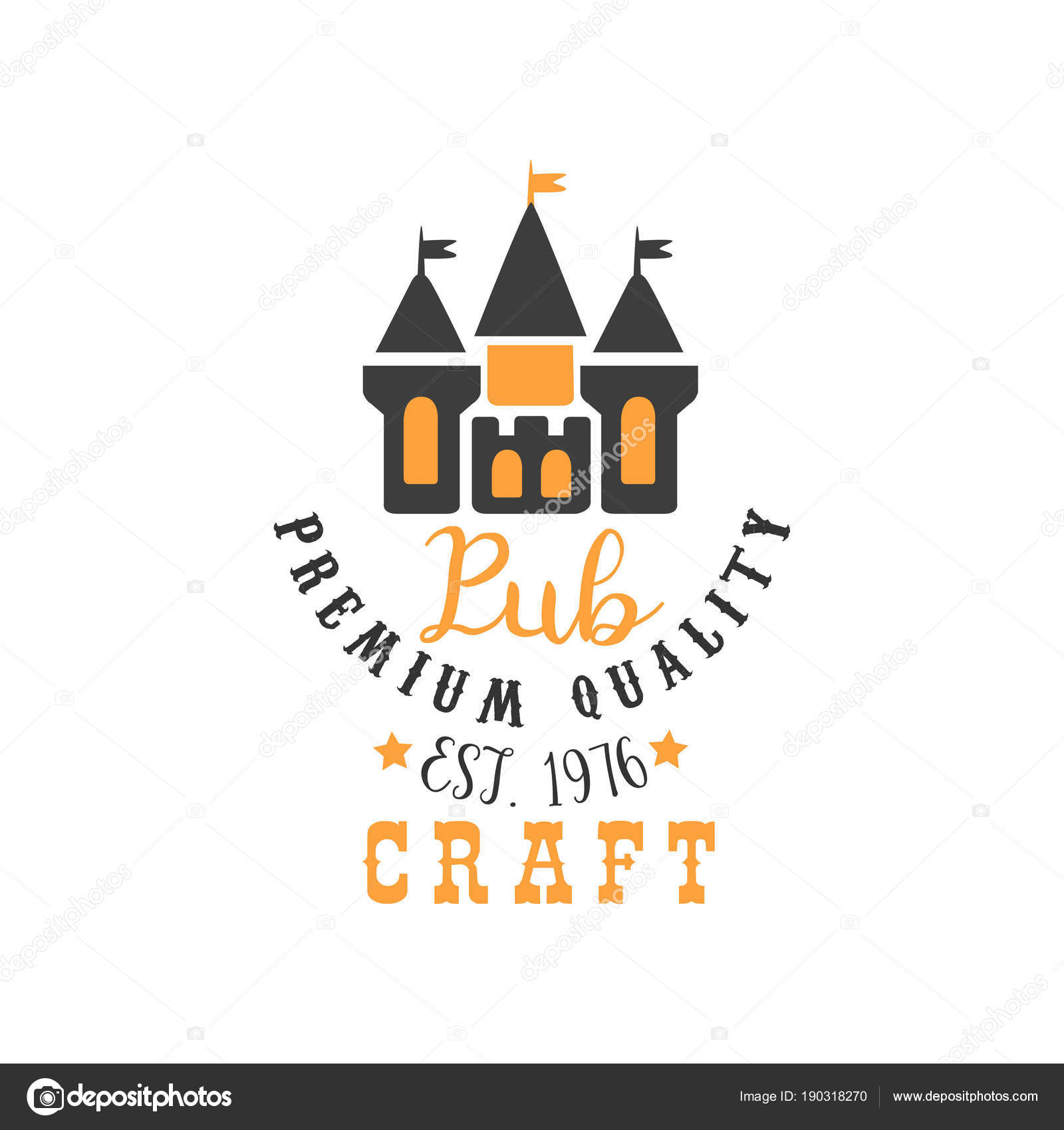 Colored vector logo template with abstract castle for craft beer ...