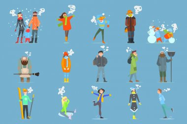 Collection of cartoon men, women, girls and boys. Outdoor activities. Cold and snowy weather. Flat people characters dressed in warm hats, winter jackets, scarfs and sweaters. Isolated vector design. clip art vector