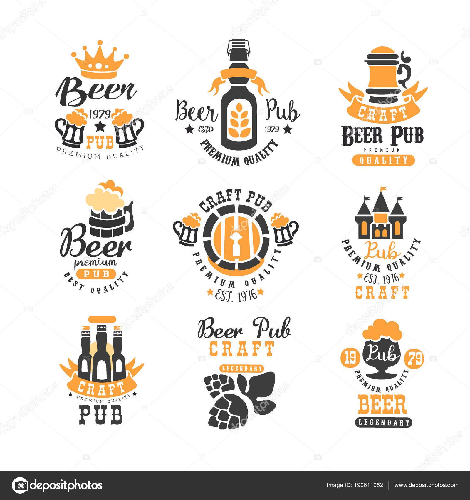 Vektor-Set von kreativen Embleme für Bier-Pub, Bar oder ...