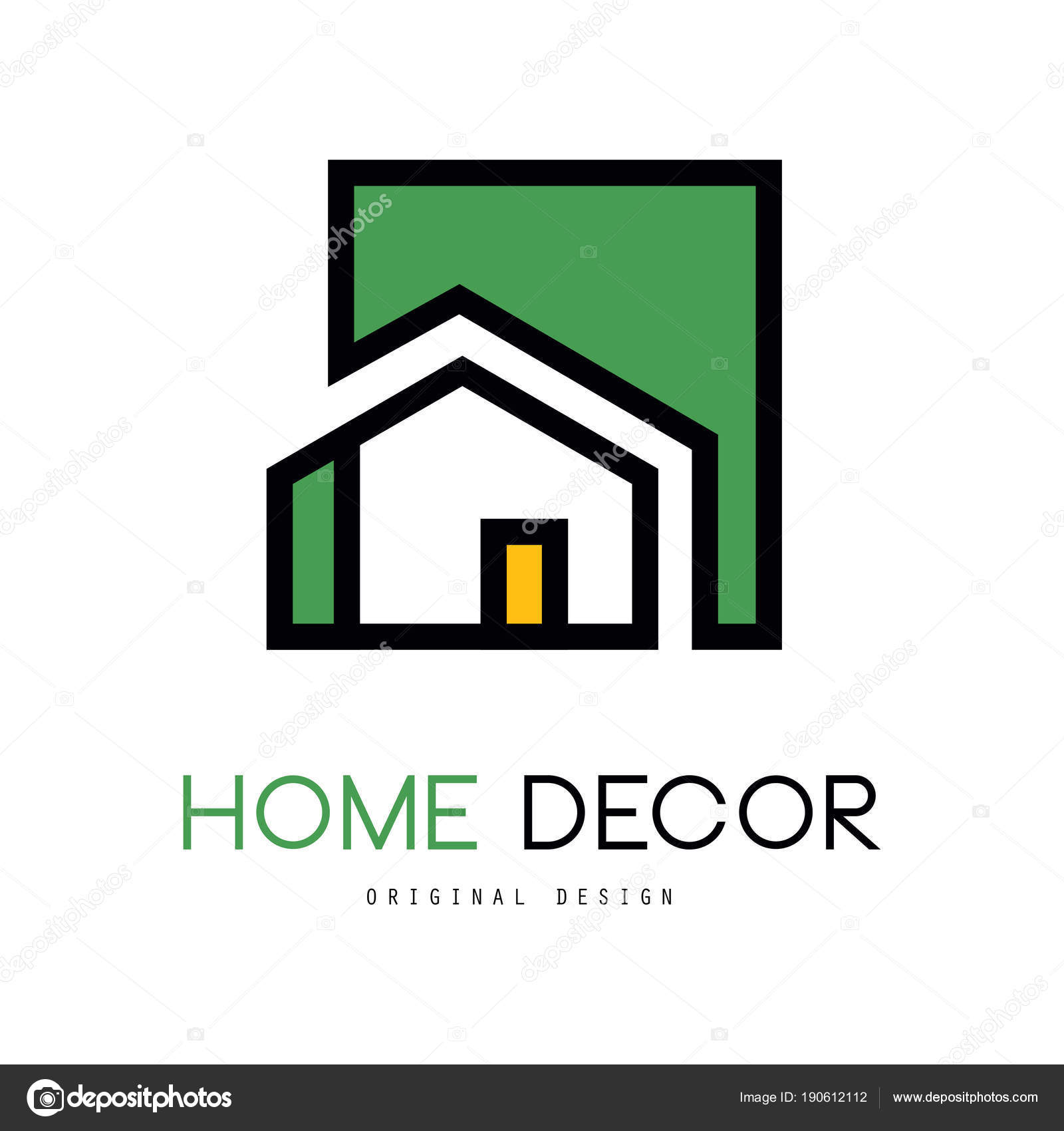 Original Linear Emblem With Green Fill For Interior Design And Home Decorating Company Or Business Vector Illustration Isolated On White Background