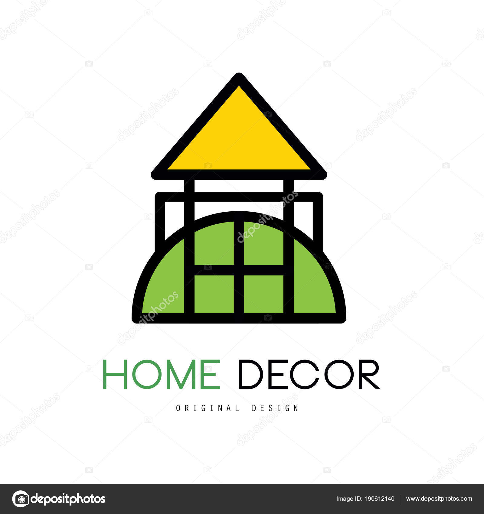 Original emblem for shop with things for house decor. Linear vector ...