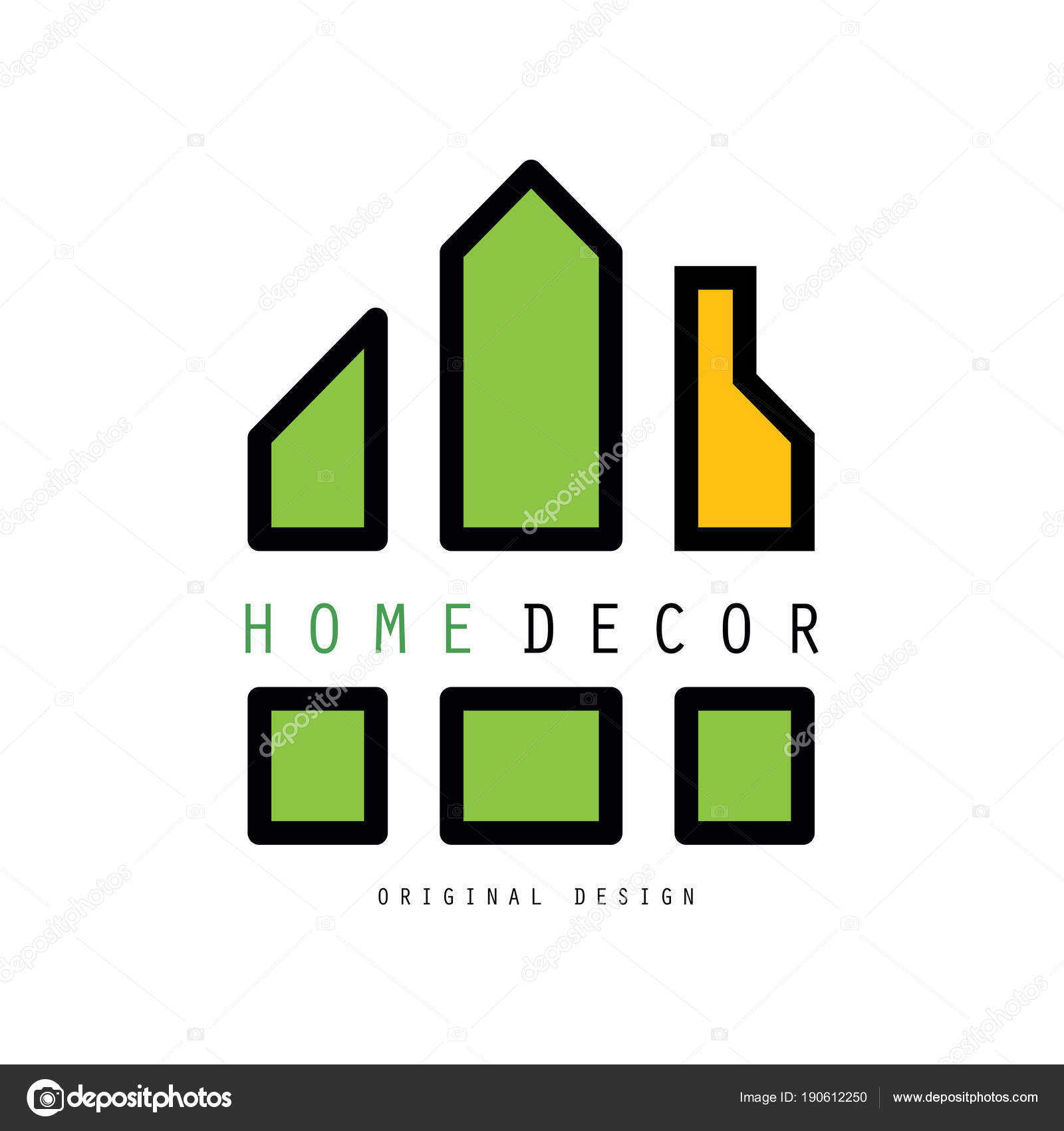 Abstract logo with shapes together constitute a house. Vector emblem ...