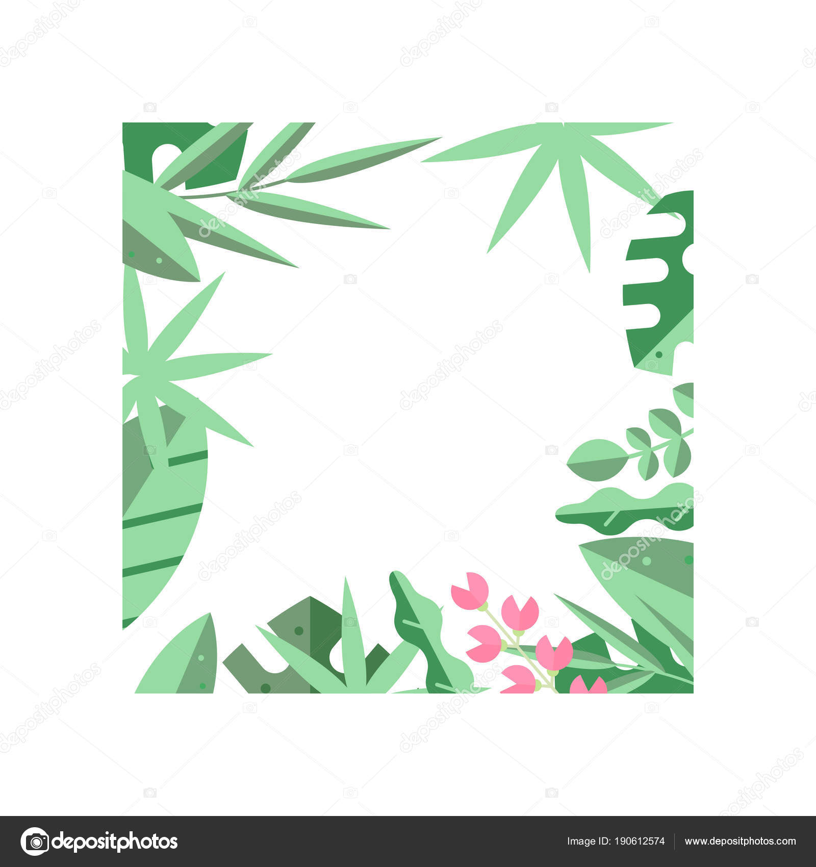 Creative Square Frame Of Green Tropical Leaves And Little Pink Flowers Natural Border Flat Vector Design For Poster Flyer Or Invitation Stock Vector C Topvectors 190612574 Tropical leaves clipart tropical leaves vector tropical leaf leaves nature green palm tree plant jungle branch exotic banana creative exotic botanical tropical leaves with text vector. https depositphotos com 190612574 stock illustration creative square frame of green html