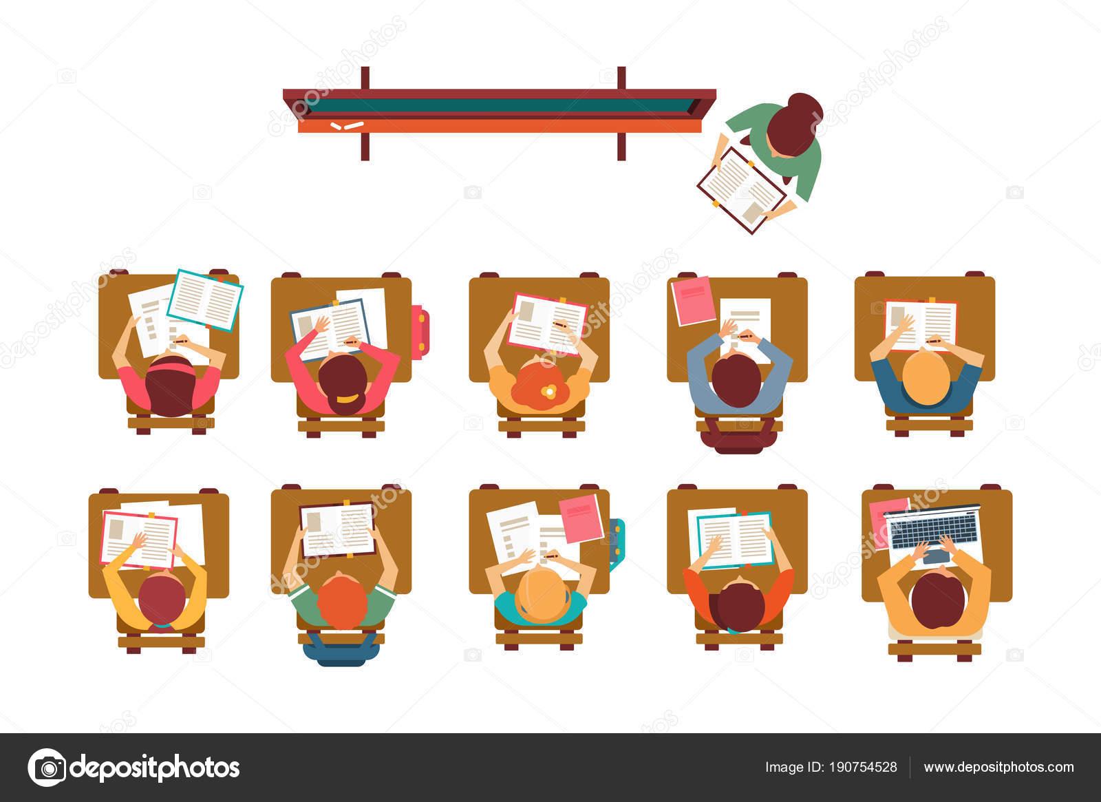 Dibujo De Niña En Su Pupitre Para Colorear: Aula Niño Sentado En Pupitre Dibujo