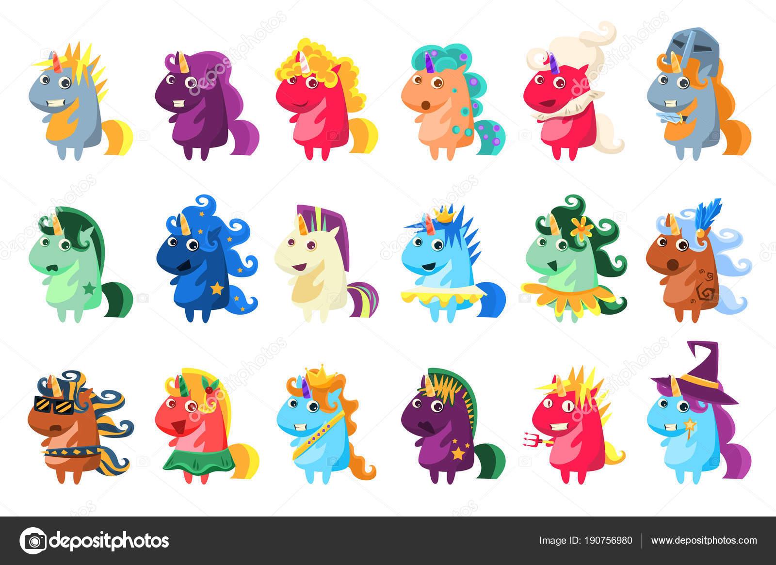 Grande Insieme Di Unicorno Magico Illustrazione Di Vettore Di