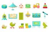 Baby toys big set, preschool children toys and furniture for nursery vector illustration