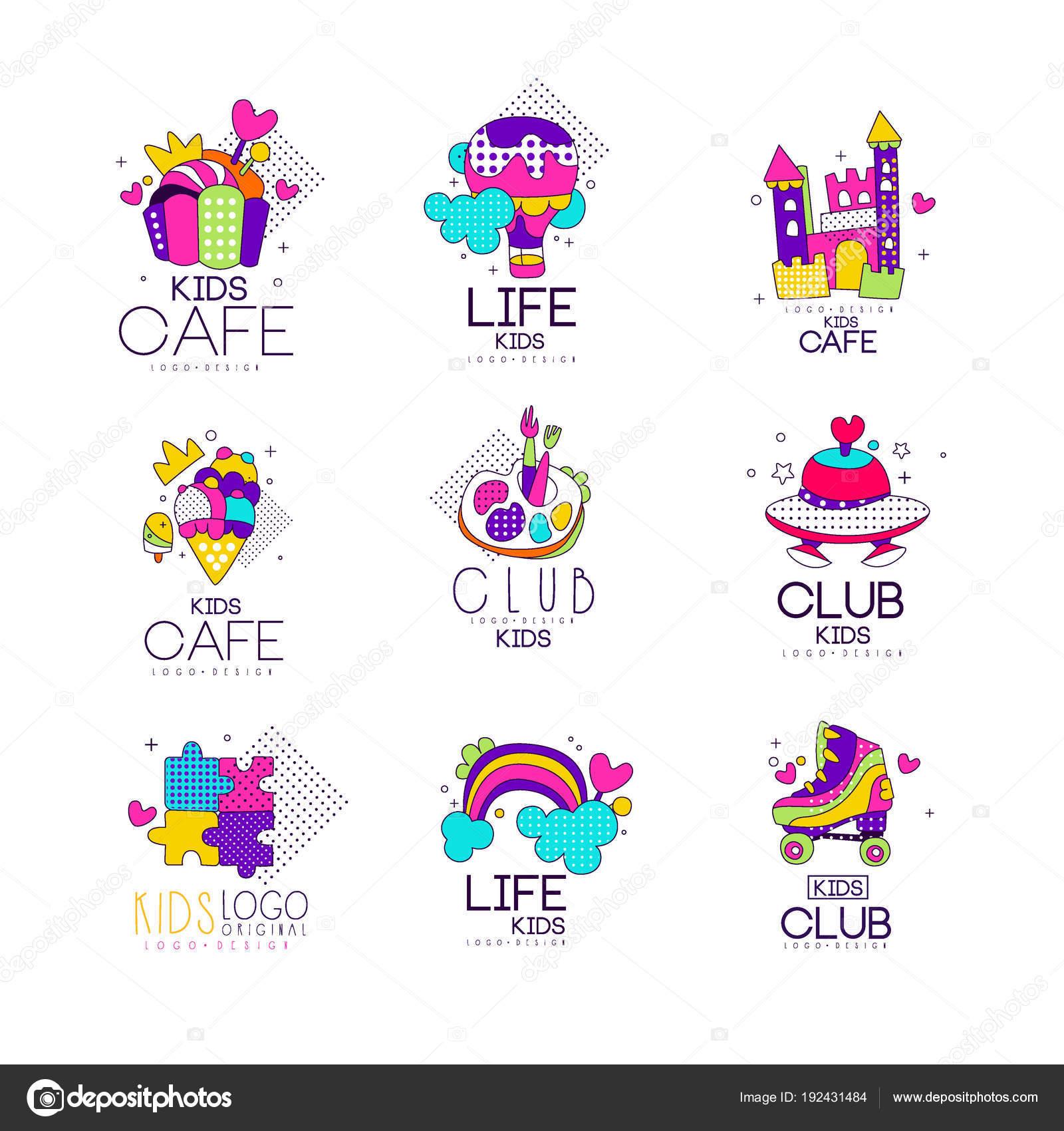Sammlung von Kinder-Logo-Vorlagen-Set, Kinder-Café, Club, Leben ...
