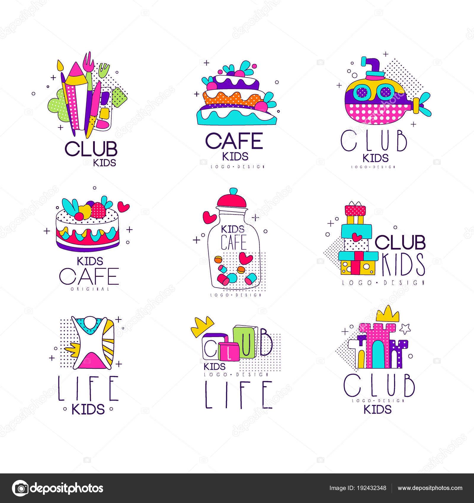 Sammlung von bunten Kinder-Logo-Vorlagen-Set, Kinder-Café, Club ...