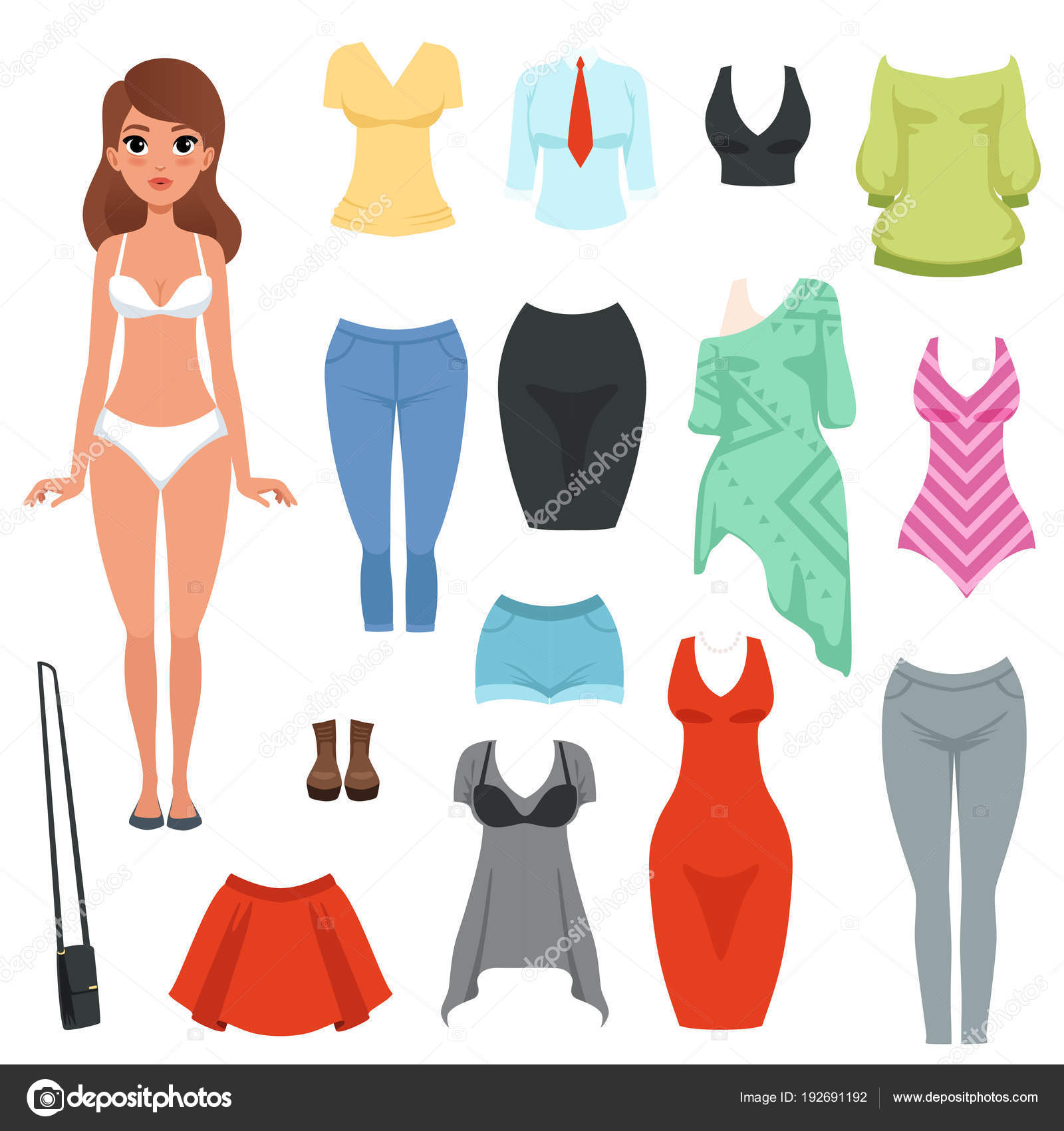 c83c5cebce01 Ženy s oblečení položky nastavení. Formální a neformální oblečení. Plavky