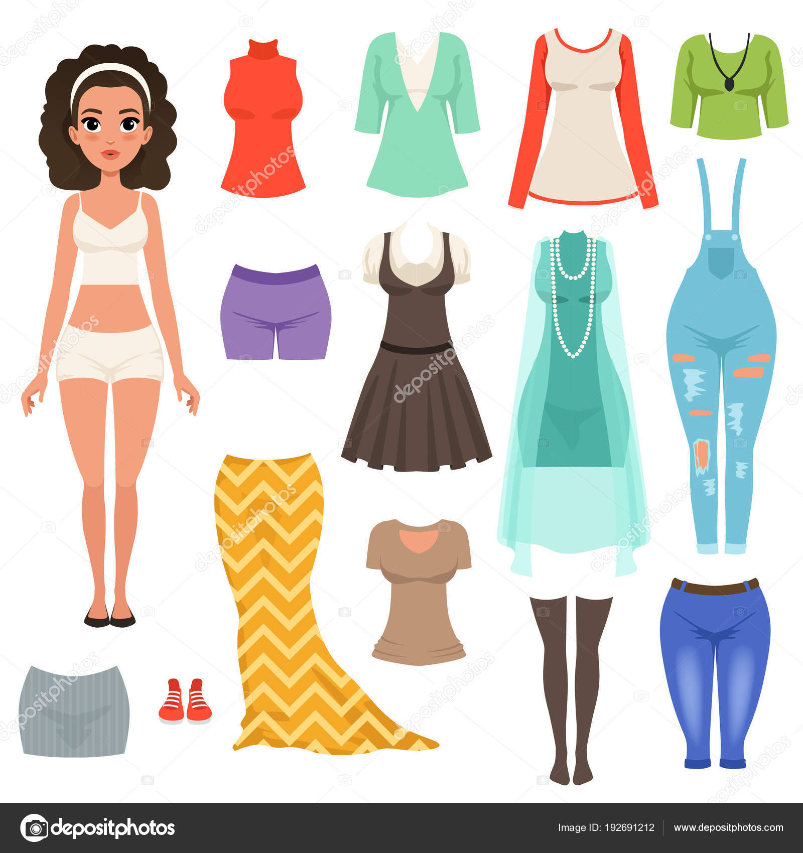 c2cad5dedc1a3e Fashionable female apparel– stock illustration. Flat vector set of women s  clothes items. Stylish denim overall, blouses, skirts