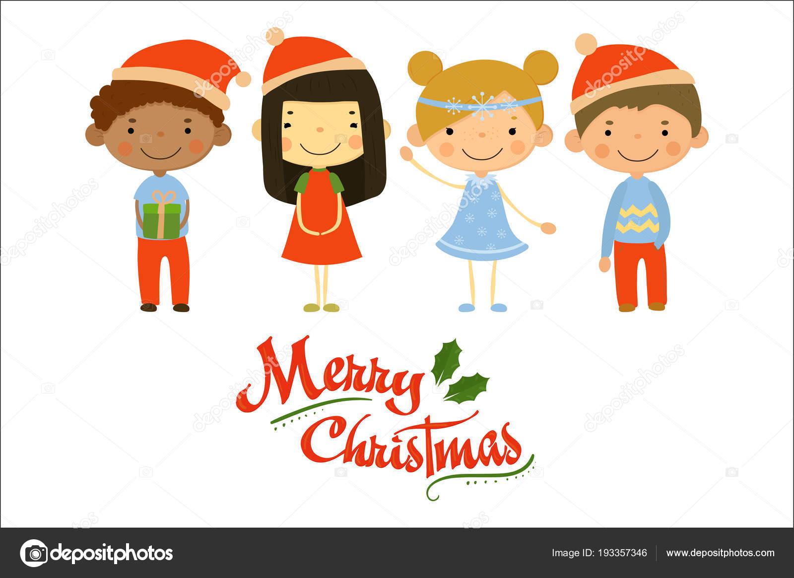 Biglietti Buon Natale Bambini.Quattro Piccoli Bambini In Costumi Di Festa Buon Natale E Felice