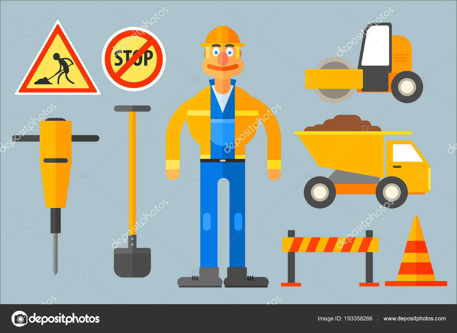 set with road worker and various equipment man in working uniform shovel cone dump truck road roller jackhammer barrier and road signs
